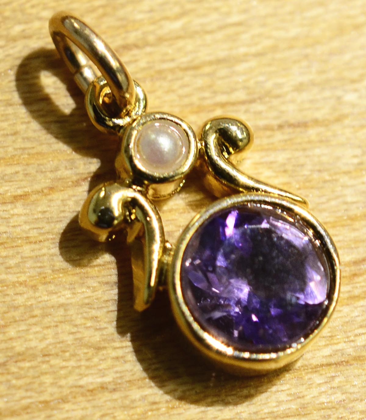 Handmade amethyst pearl and gold vermeil pendant