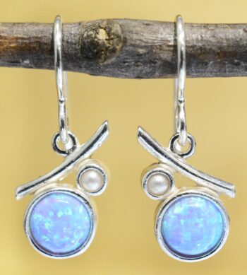 These created opal and freshwater pearl earrings are handmade by Sonoma Art Works.