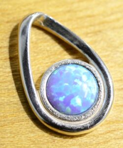 Handmade created light blue opal, sterling silver pendant