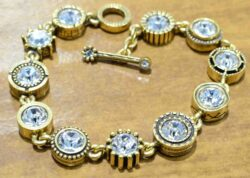 "Round Two gold tone bracelet in color ""All Crystal"" by Patricia Locke"