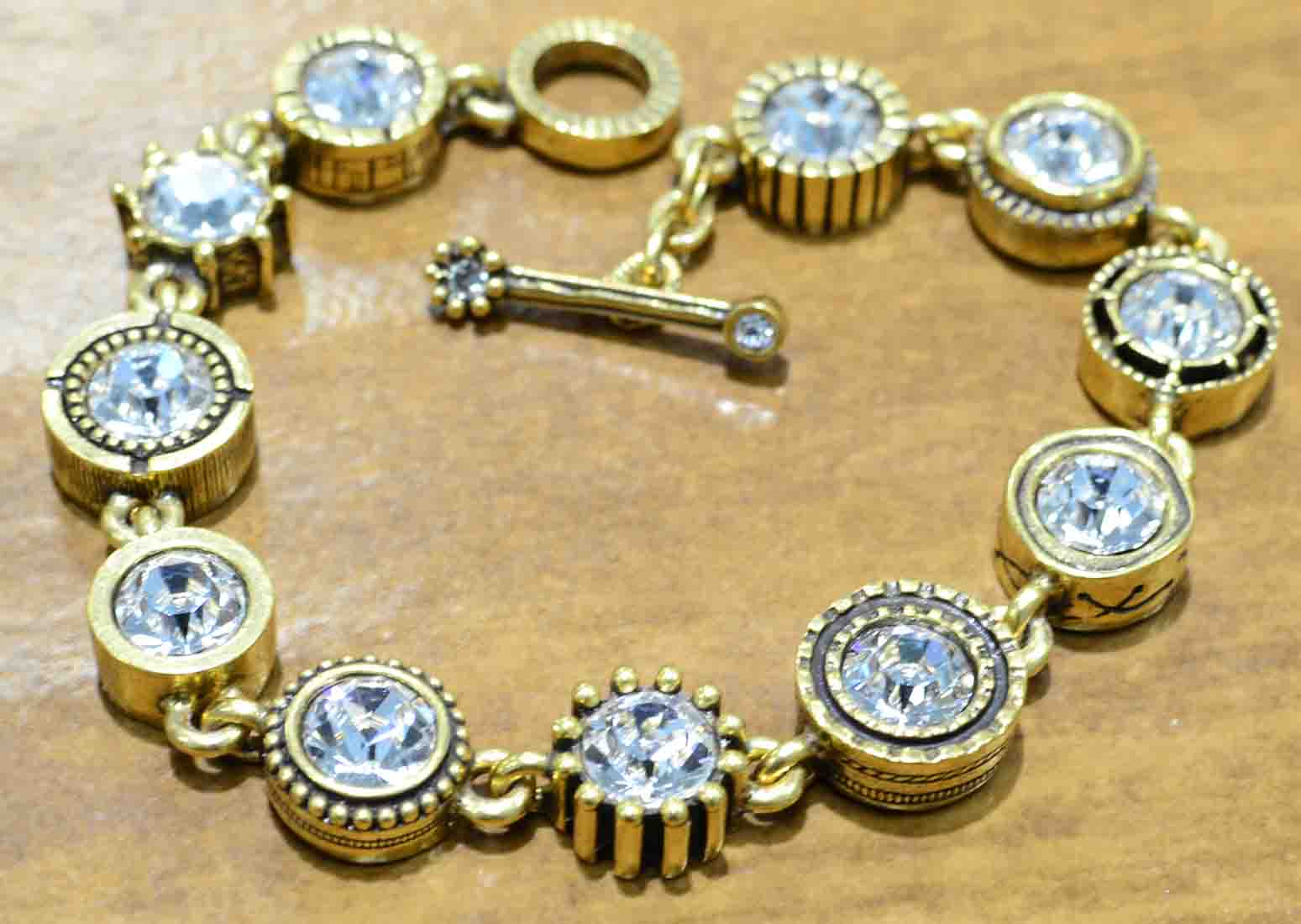 """Round Two gold tone bracelet in color """"All Crystal"""" by Patricia Locke"""