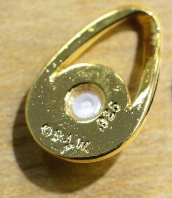 Handmade white freshwater pearl in 14k gold vermeil pendant back view