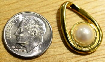 Handmade white freshwater pearl in 14k gold vermeil pendant shown with dime (not included) for scale
