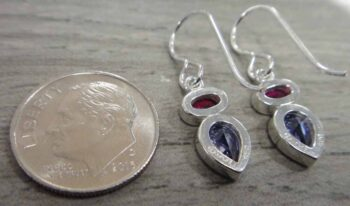 back of sterlin silver ruby cubic zirconia and tanzanite cubic zirconia earrings handmade by Sonoma artworks pictured with dime for scale