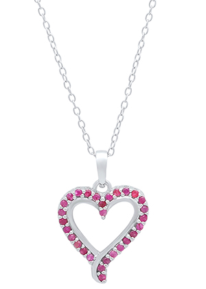 ruby and sterling silver heart necklace