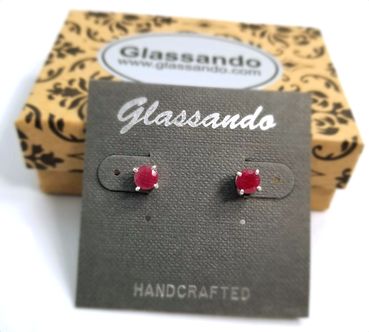 red ruby and sterling silver post earrings