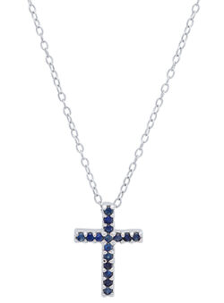 dark blue sapphire gemstones and sterling silver cross necklace