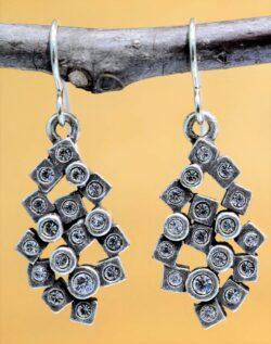 Patricia Locke Scatterplot silvertone drop earrings in All Crystal