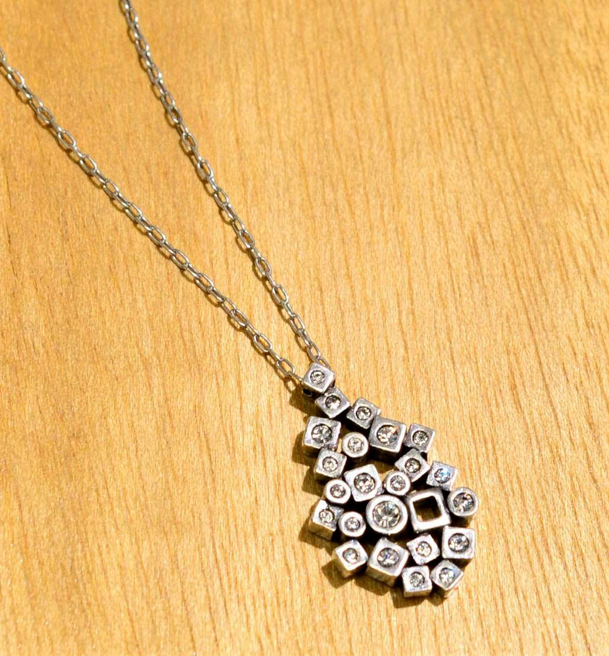 Patricia Locke Scatterplot silvertone necklace style in All Crystal, close up