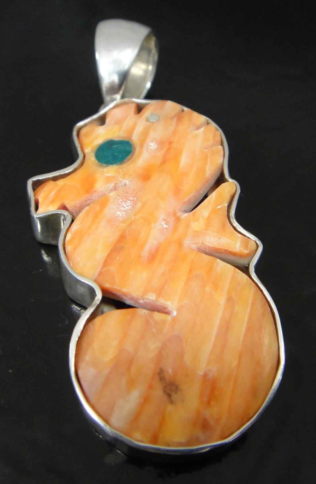 Spiny oyster shell seahorse pendant