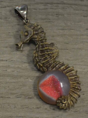 Seahorse with pink druzy pendant