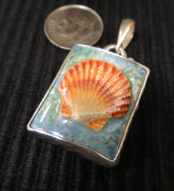 porcelain seashell sterling silver pendant with dime for scale