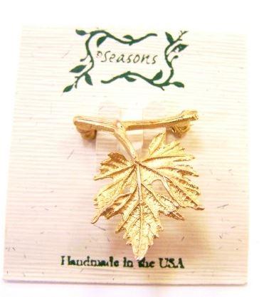 Michael Michaud Seasons Grape leaf brooch