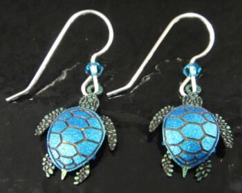These sea turtle dangle earrings are handmade by Sienna Sky.