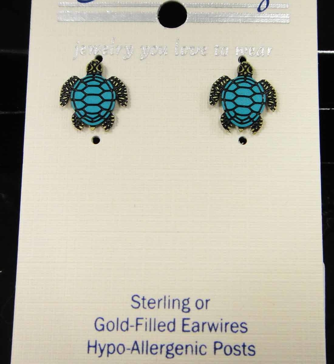 blue and green sea turtle stud earrings by Sienna Sky