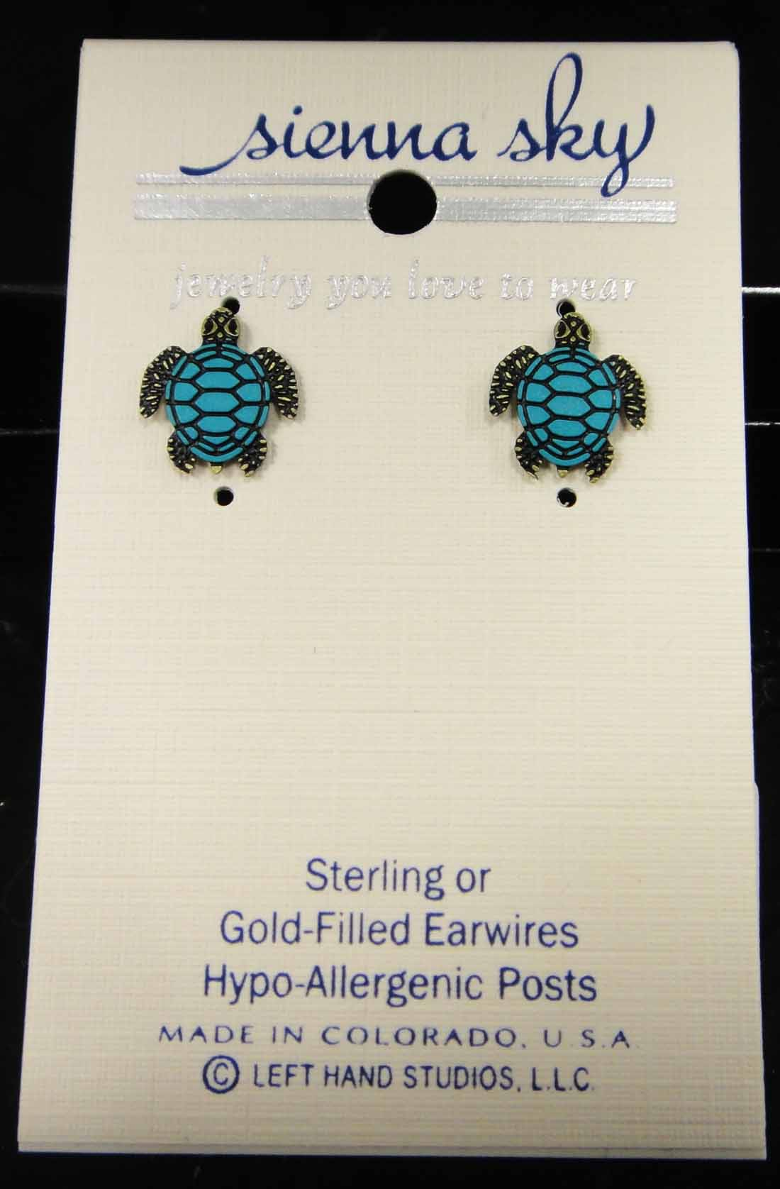 These blue and green sea turtle post earrings are made by Sienna Sky.