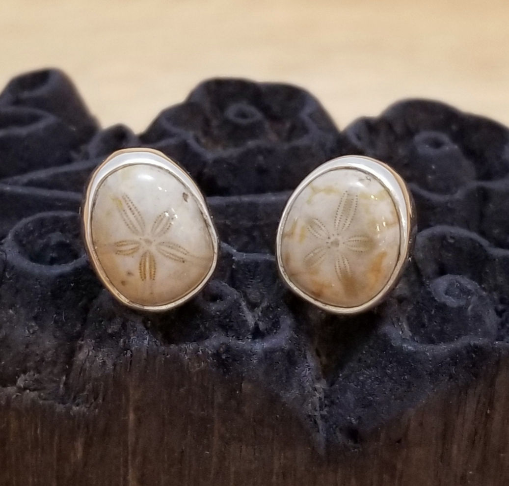 fossilized sea urchin and sterling silver post earrings