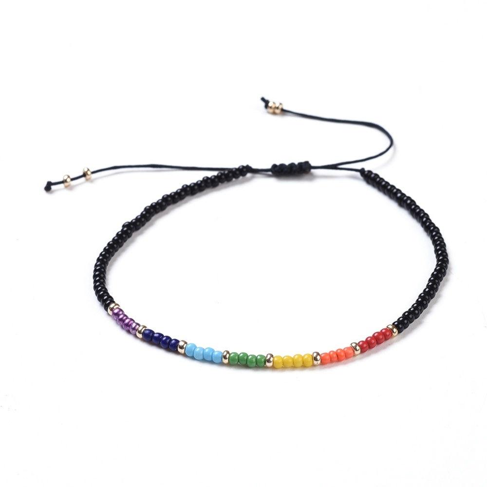 rainbow chakra dainty seed bead adjustable bracelet