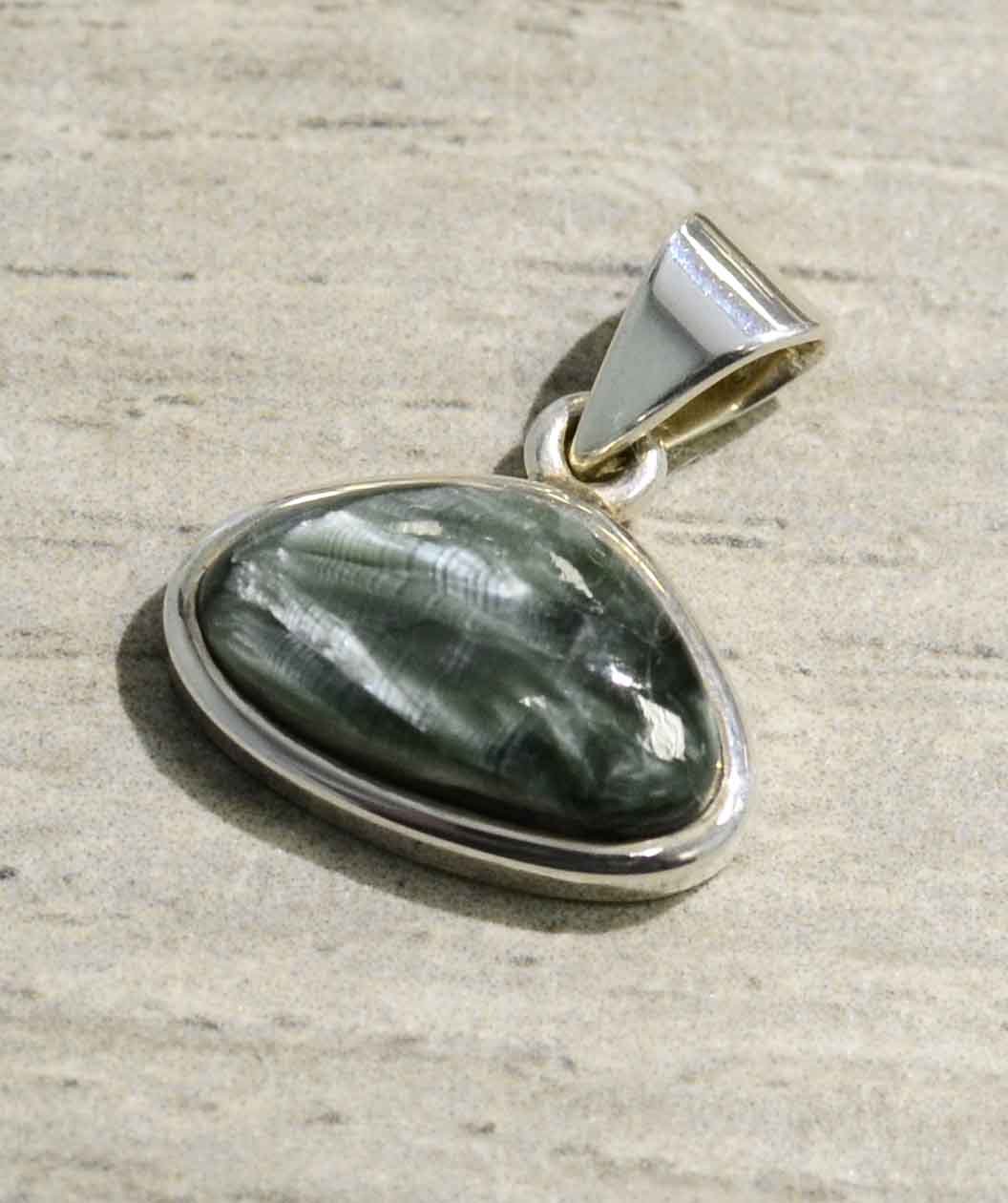 Extra small seraphinite and sterling silver pendant