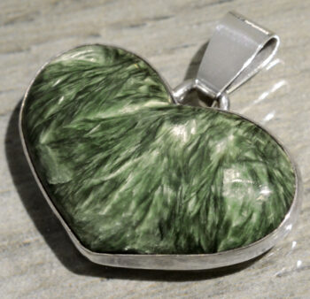 seraphinite heart and sterling silver pendant handmade in Lone Tree, IA