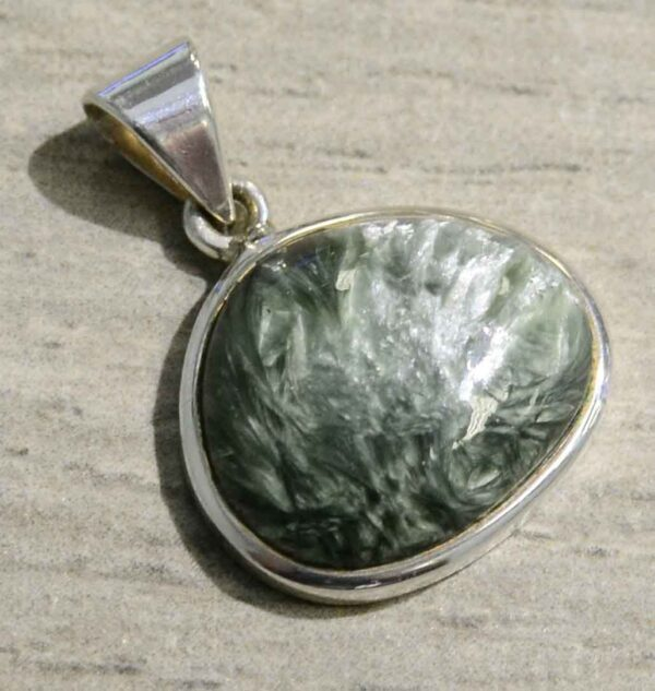 handmade seraphinite and sterling silver pendant