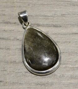 Sheen obsidian and sterling silver pendant