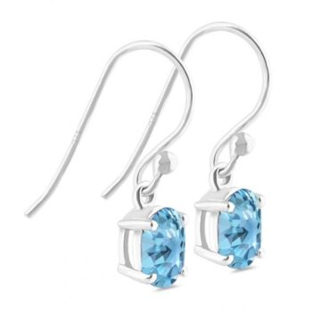 side view of blue topaz and sterling silver earrings