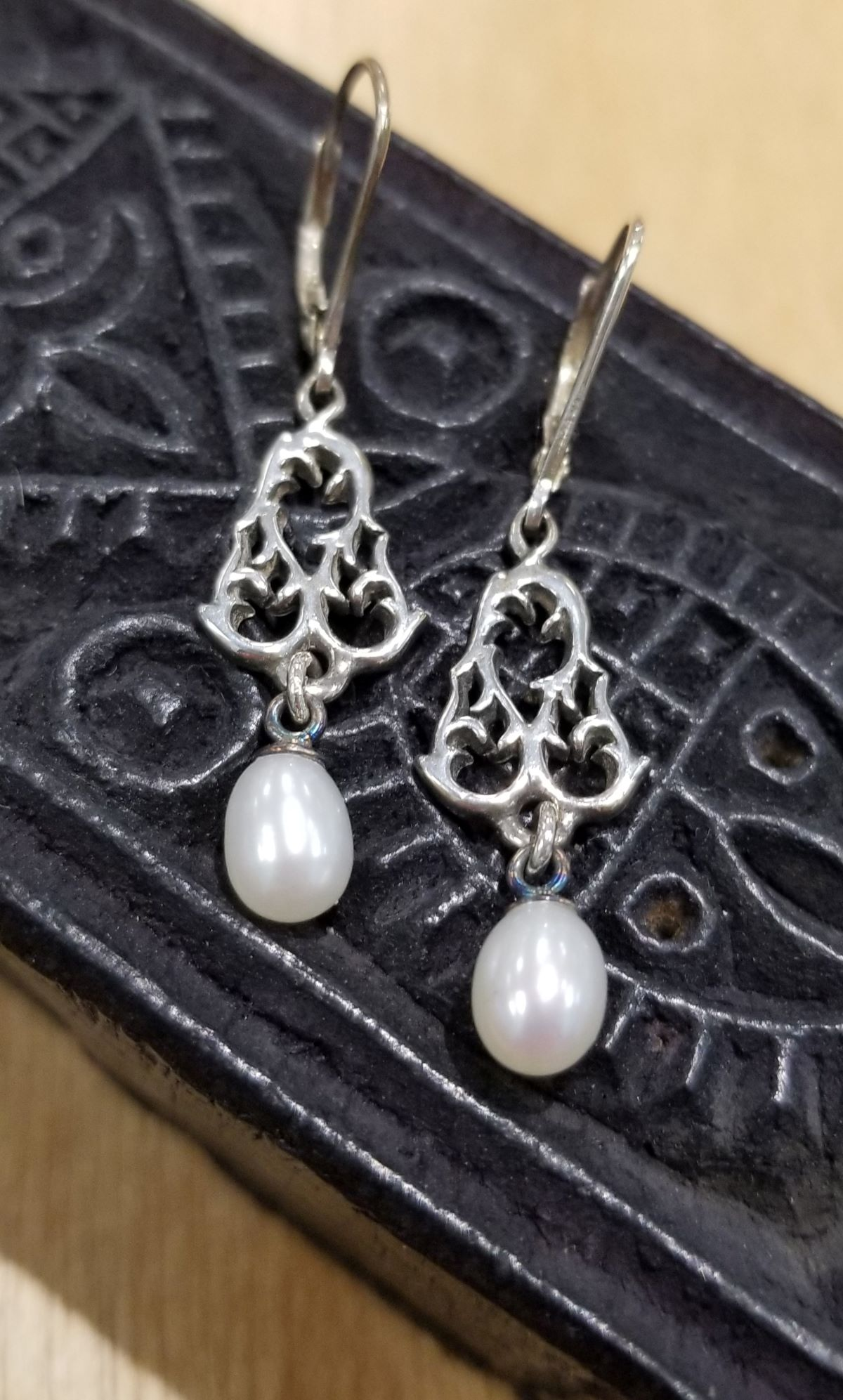 white fresh water pearl and sterling silver filigree earrings