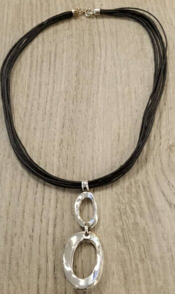 circle pendant on cord necklace