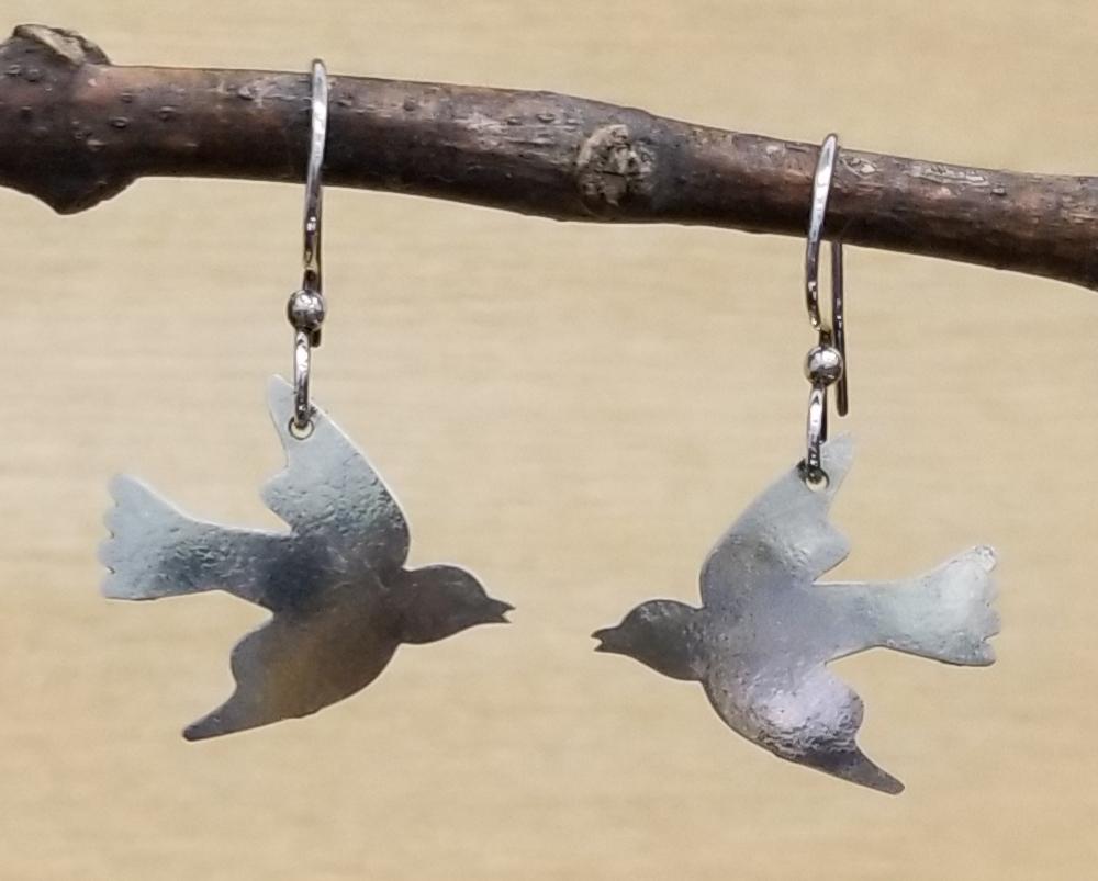 bird dangle earrings by Joseph Brinton