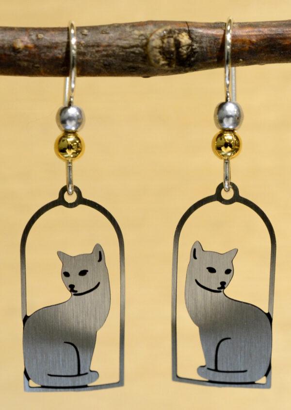 Silvertone cat in frame earrings