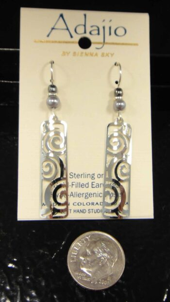 Silvertone Adajio earrings with swirls, shown with dime (not included) for size comparison