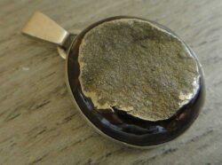 Simbircite druzy and sterling silver pendant handmade by Dale Repp in Lone Tree, Iowa