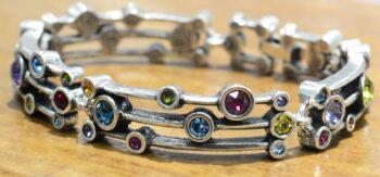 "Singin' in the Rain style silver tone bracelet in color palette ""Fling"" by Patricia Locke"
