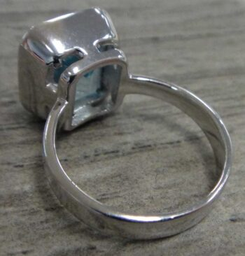 back of blue topaz and sterling silver ring