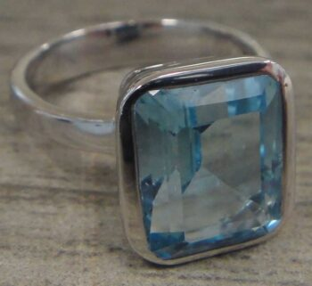 Blue topaz and sterling silver size 6 handmade ring