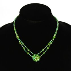 two strand bright green necklace