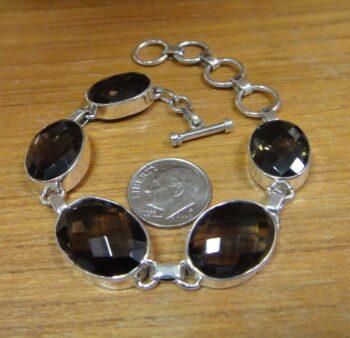 smoky quartz bracelet with dime for size