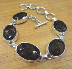 handmade smoky quartz and sterling silver bracelet
