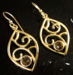 These smoky quartz and gold vermeil earrings are handmade by Sonoma Art Works.