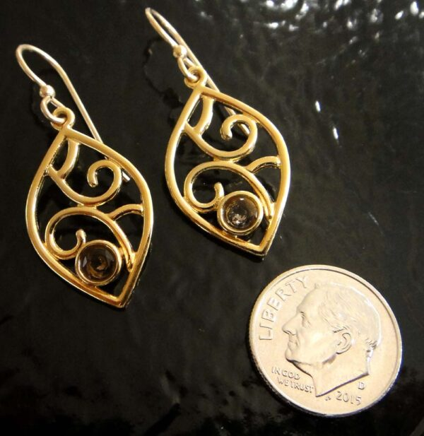 These smoky quartz and gold vermeil earrings are handmade by Sonoma Art Works (pictured with dime for scale).