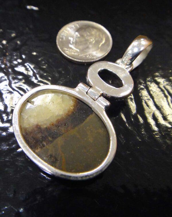 Handmade smoky quartz, septarian, sterling silver pendant back view