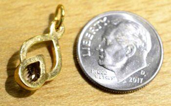 Smoky quartz in 14k gold vermeil pendant back view