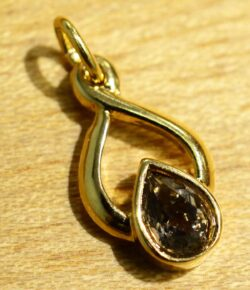 Handmade smoky quartz in 14k gold vermeil pendant