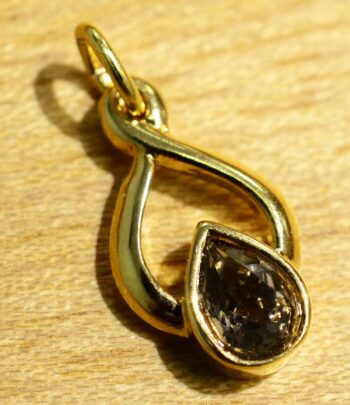 Handmade smoky quartz in 14k gold vermeil pendant