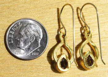 Back of smoky quartz and gold vermeil twist earrings (pictured with dime for scale)