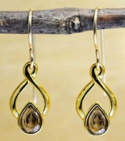 These gold vermeil smoky quartz earrings are handmade by Sonoma Art Works.