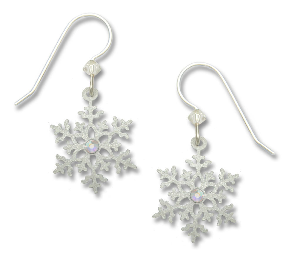 White snowflake earrings with sterling silver ear-wires