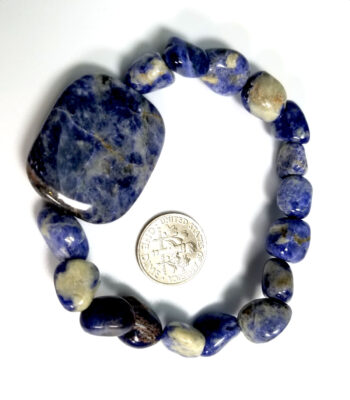 sodalite bracelet with dime for scale