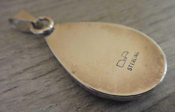 Handmade sonoran sunrise jasper and sterling silver pendant back view